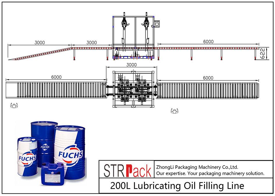 Linea di riempimento automatico dell'olio lubrificante 200L