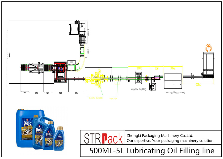 Linea di riempimento automatico dell'olio lubrificante 500ML-5L