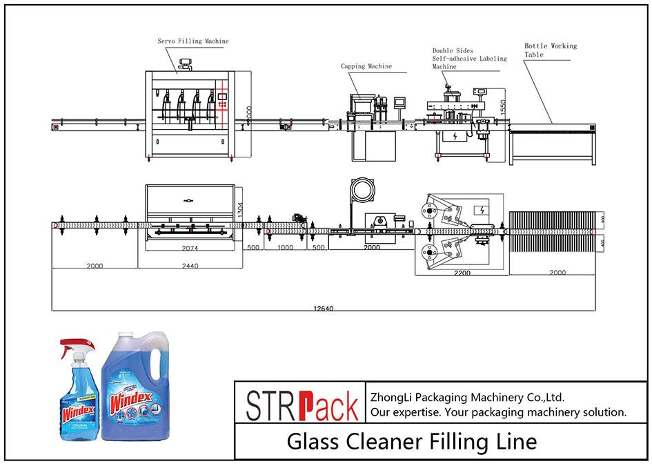 Linea di riempimento automatico del detergente per vetri