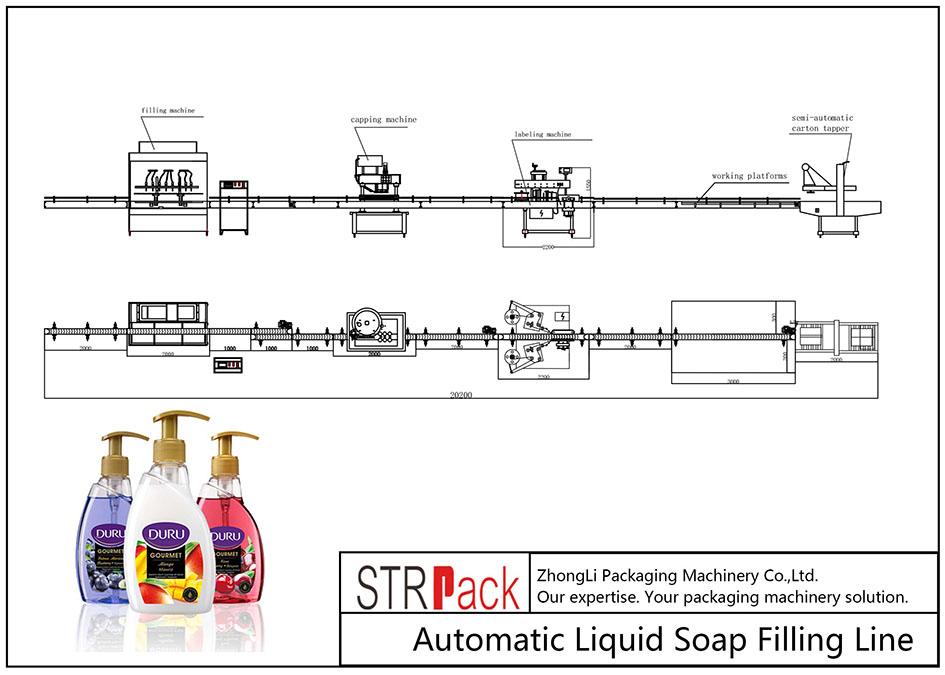 Linea di riempimento automatico del sapone liquido