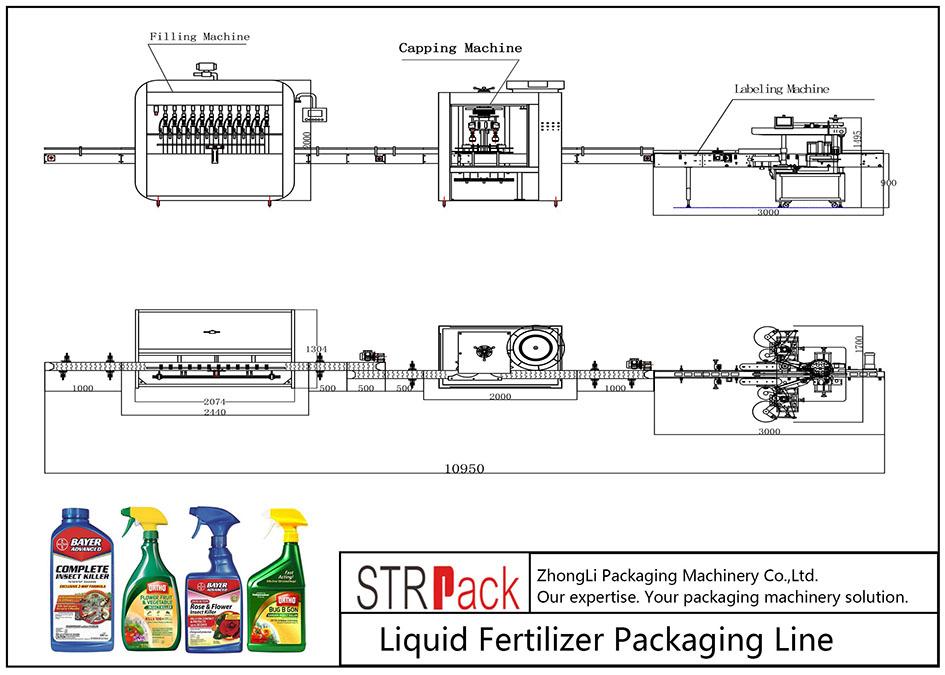 Linea di confezionamento di fertilizzanti liquidi automatici